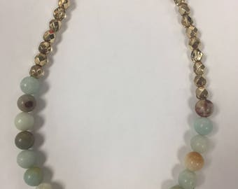 Moon Bead and Gold Tone necklace
