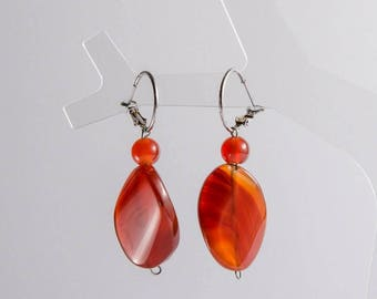 Genuine Carnelian Earrings, Dark Red Earrings, Smooth Carnelian Dangle, Graduation Gift for Her, Charity Earrings, Charity Donation
