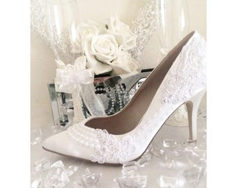 Ivory White Wedding Shoes, Bridal Heels, Satin Embroidery Lace, Crystal Bride Shoes
