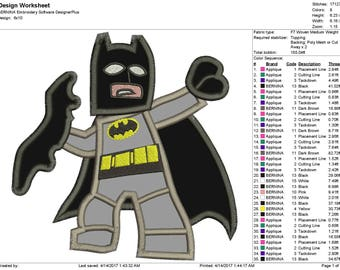 """BatMan Embroidery Applique Instant Download 3 sizes 4x4"""", 5x7"""", 6x10"""""""