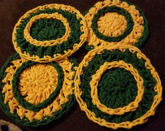 Set of 4 yellow and green coasters