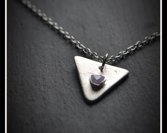 Silver Triangle CZ Pendant - Silver Precious Metal Clay (PMC), Handmade, Necklace - (Product Code: ACM071-17)