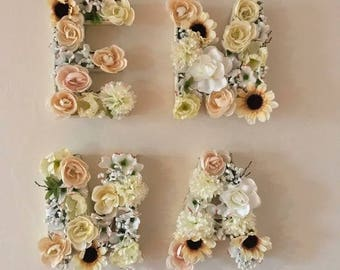 Letters, Floral, Name, Wall Decor