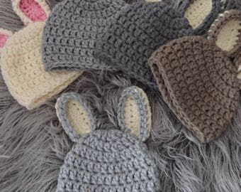Bunny Hat, Newborn Girl Hat, Girls Hat, Crochet Bunny Hat, Crochet Baby Hat, Bunny Photography Prop, Baby Girl Hat, Crochet Hat, Bunny Ears