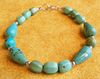 Turquoise Bracelet, Turquoise and Silver Jewelry, Green Turquoise Bracelet, Blue Turquoise, Turquoise and Sterling Bracelet, Semiprecious