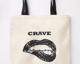 Canvas Tote Bag - Lips Crave