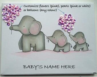 Elephant Trio- Nursery wall art, Baby Nursery Wall Decor, Baby Nursery Art, Baby Elephant Art, Elephant Nursery, Pink and Grey Nursery