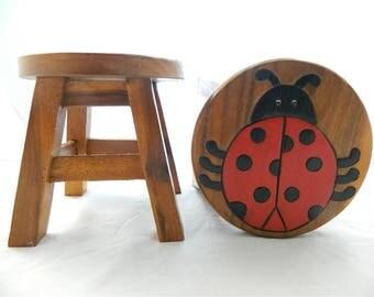 Childs Childrens Wooden Stool -  Ladybird Ladybug Step Stool.