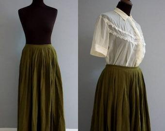 Forest Green Petticoat / Vintage Petticoat / Vintage Skirt