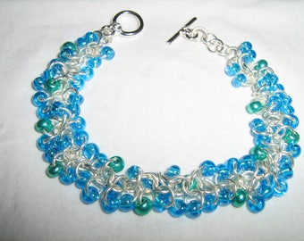 Shaggy Loops Aqua and Metallic Green Bracelet