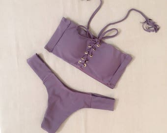 DIANA Purple Lace Up Bandeau Bikini Set S M L