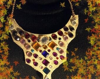 Necklace Leather Chokers, Swarovski Crystal Stones