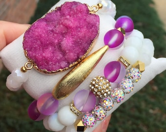 Druzy pink bracelet set stack natural stone stretch gold accent