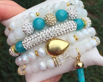 turquoise blue bracelet stretch stack of five natural stone and glass beads