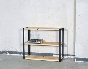 Shelf made of raw steel and reclaimed planks