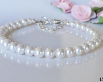 White Crystal Pearl Bracelet with Heart Lobster Clasp and Safety Chain