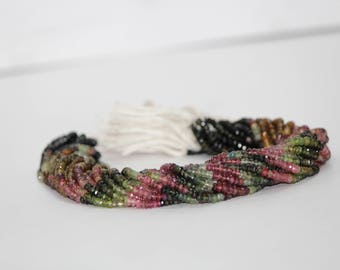 Natural Watermelon Tourmaline Faceted Rondelle Beads , Faceted Tourmaline Beads , Tourmaline Beads , Natural Tourmaline , Multi Tourmaline