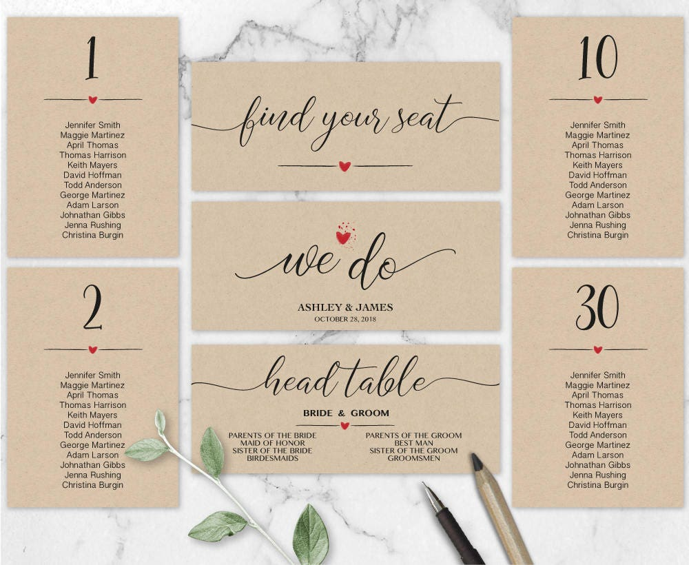 we do wedding seating chart template header signs and table signs