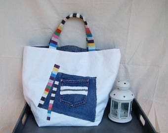 Large Tote Bag, Jeans Recycle Bag, Shoulder Bag, Beach Bag , Unique Tote Bag, Large Tote Bag, Reversible Bag, Hobo Bag