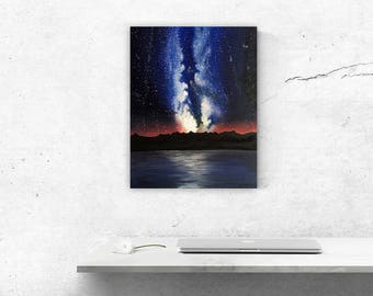 Milky Way Galaxy Art, Space Painting, Original Oil Painting on Canvas Board, Mountain Silhouette Art, Reflective Water Painting, Star Art