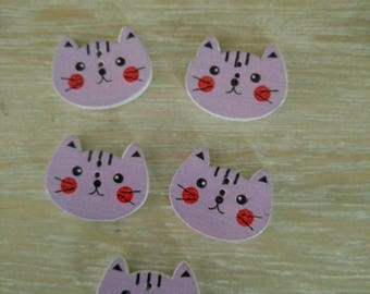 Cat buttons, animal buttons for girls cardigan or jacket/hat, Set of 5, two hole, 20mm by 16mm, cute buttons