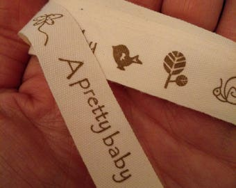 New baby ribbon, baby shower ribbon, grosgrain fabric, cream with caramel brown lettering, Per Metre, 16mm width