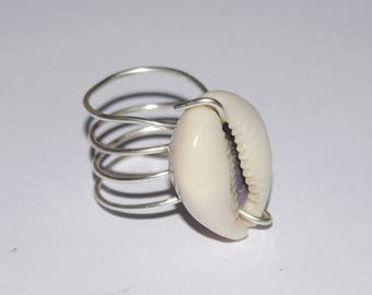 shell ring , handmade wire ring size 11 US