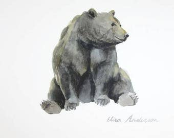 ORIGINAL watercolor painting, Baby Nursery, Wall Art, Wall Decoration, Brown Bear painting, bear watercolor, cute bear painting, Animal art