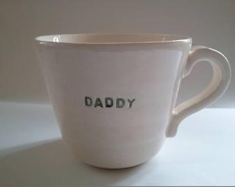 Hand thrown ceramic glazed pottery daddy mug