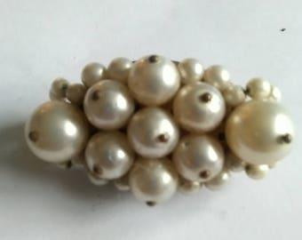 Vintage Cluster Faux Pearl Brooch