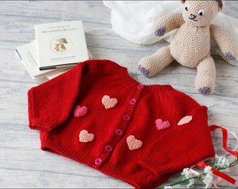 Baby Girl Cardigan/9-12 months/baby girl knit/baby gift/red baby sweater/classic baby knit/baby girl sweater/little girl knit/pink hearts/
