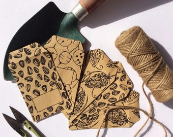 Kraft Seed Storage Envelopes (set of 5). Handprinted. Original Design. Perfect Gift For A Keen Gardener.