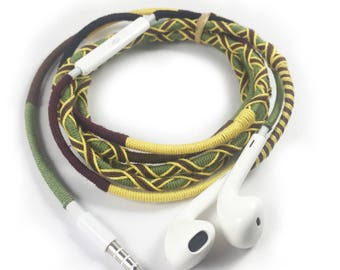 Colorful Earbuds Apple Earphones Wrapped Handmade Earpods with mic