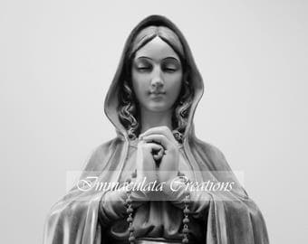 Mary in Black and White Image