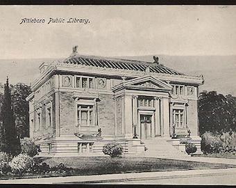 Attleboro Public Library Postcard 1909 Attleboro Massachusetts  MA PC