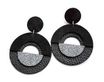 maxi leather earring