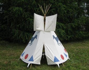 Play teepee, children tent, tipi, Indian tent, white, tent, play tents, kids play tent