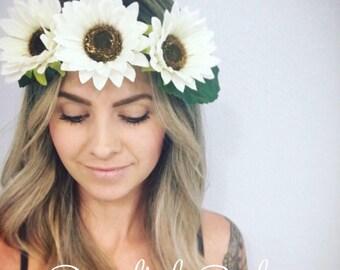 White Sunflower Crown (Large)