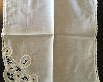 Vintage White Embroidered Handkerchief