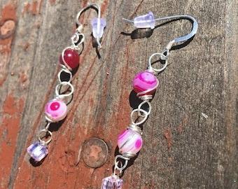 Beaded pink dangle earrings