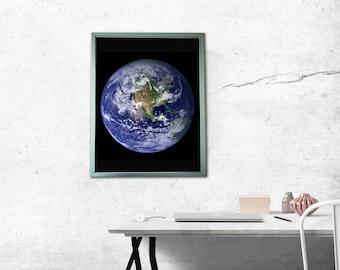 Earth Poster w/ LED Backlit Snap Frame