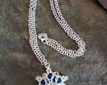 Chainmaille necklace in sterling silver with Swarovski crystals