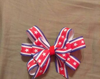 Stars and stripes triple loop stacked bow