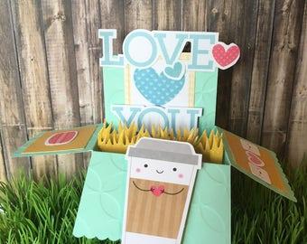 Handmade Coffee Love Pop Up Card