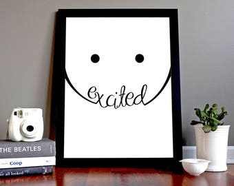 """SET OF 5 PRINTS """"Emotions!! Happy, Sad, Worried, Angry, Excited"""". Instant Digital Download. Home Decor. Original Art Work. Typography. Print"""