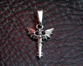 Bat pendant, silver bat pendant,gothic silver pendant, gothic cross,gothic silver pendant, cross pendant for women, womens gothic pendant