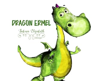 Dragon Ermel 1, bright green, Watercolor Clipart, Baby, Child, Fun, Craft