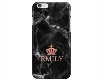 Personalised initials name Rose Gold Black Marble Phone Case Cover for Apple iPhone 5 6 6s 7 8 Plus & Samsung Galaxy Customized Monogram