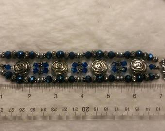 Beaded Bracelet, Metallic Roses, 8-inch