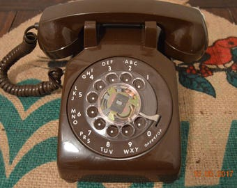 Vintage Brown Rotary Telephone